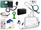 Kit Enfermagem Esfigmomanômetro com Estetoscópio Rappaport Premium Completo - Verde + Bolsa Transparente JRMED + Relógio Lapela