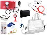 Kit Enfermagem Esfigmomanômetro com Estetoscópio Rappaport Premium Completo - Vermelho + Bolsa Transparente JRMED + Relógio Lapela