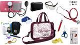 Kit Enfermagem Esfigmomanômetro com Estetoscópio Rappaport Premium Completo - Vinho + Bolsa Transparente JRMED + Medidor de Glicose - G-Tech