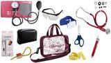Kit Enfermagem Esfigmomanômetro com Estetoscópio Rappaport Premium Completo - Vinho + Bolsa Transparente JRMED