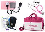 Kit Enfermagem Esfigmomanômetro com Estetoscópio Rappaport Premium - Rosa + Bolsa JRMED + Medidor de Glicose - G-Tech