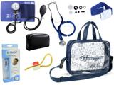 Kit Enfermagem Esfigmomanômetro com Estetoscópio Rappaport Premium + Termômetro Digital + Garrote Cores + Bolsa Transparente JRMED - Azul - Incoterm