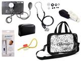 Kit Enfermagem Esfigmomanômetro com Estetoscópio Rappaport Premium + Termômetro Digital + Garrote Cores + Bolsa Transparente JRMED - Preto