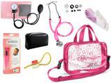 Kit Enfermagem Esfigmomanômetro com Estetoscópio Rappaport Premium + Termômetro Digital + Garrote Cores + Bolsa Transparente JRMED - Rosa