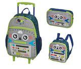 Kit escolar pack me robot - mochilete + lancheira + estojo - pacific