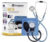 Kit Esfigmomanômetro + Esteto Duplo + Bolsa Incoterm Azul