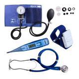 Kit Esfigmomanômetro + Estetoscópio Azul + Termômetro + Garrote - Premium
