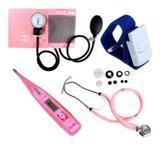 Kit Esfigmomanômetro + Estetoscópio Rosa + Termômetro + Garrote - Premium