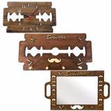 Kit Espelho Barbeiro Cabide Relógio Gilete Personalizado Barber Shop - Jkveras