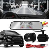 Kit Espelho Retrovisor Interno Com Câmera de Ré Ford Ecosport 03 a 19 Preta Tela LCD 4,3 Polegadas - Prime