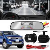 Kit Espelho Retrovisor Interno Com Câmera de Ré Ford Ranger 98 a 19 Preta Tela LCD 4,3 Polegadas - Prime