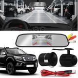 Kit Espelho Retrovisor Interno Com Câmera de Ré Nissan Frontier 98 a 18 Preta Tela LCD 4,3 Polegadas - Prime
