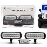 Kit Farol Milha Auxiliar Retangular 3 em 1 Slim Universal 16 LEDs 12V 24V Azul Módulo de Controle - Autopoli