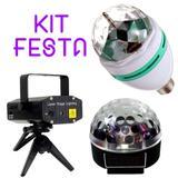 Kit Festa Bola Led Mini Laser Lampada Giratoria - Ukimix