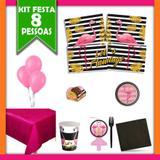 Kit Festa  Flamingo 08 Pessoas - Festabox