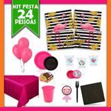 Kit Festa  Flamingo 24 Pessoas - Festabox