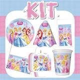 Kit Festa Infantil das Princesas Glamour 24 pessoas Econômico - Festabox