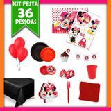 Kit Festa Infantil Minnie Vermelha 36 Pessoas - Festabox