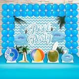 Kit Festa Ouro Pool Party Azul - IMPAKTO VISUAL