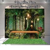 Kit Festa Painel Toalha Tapete em Lona Jardim Encantado na Árvore - Casa harmonia