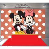 Kit Festa Painel Toalha Tapete em Lona Mickey e Minnie - Casa harmonia