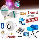 Kit Iluminação Festa 3x1 Projetor Laser Efeitos Strobo Luz + Lampada Musical Led Bluetooth Som + Bola Maluca Giratória - Leffa shop