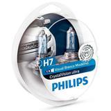 Kit Lâmpada Philips Crystal Vision Ultra 55W 12v H7 PX26d Farol
