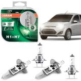 Kit Lâmpadas Halógenas Osram Ultra Life H7 H1 3200K 55W Fiesta Hatch Sedan 07 A 14 Farol Baixo Alto