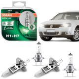 Kit Lâmpadas Halógenas Osram Ultra Life H7 H1 3200K 55W Golf 07 A 13 Farol Baixo e Alto