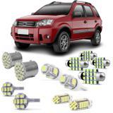 Kit Lâmpadas LED Pingo e Torpedo Ford Ecosport até 2012 Farolete Placa Teto e Ré - Kit iluminação