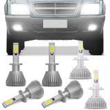 Kit Lâmpadas Super LED Headlight S10 2001 A 2011 Farol Baixo H7 Alto H1 Milha H1 6000K Efeito Xênon - Kit iluminação