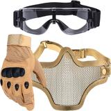 Kit Luva Tática Dedo Completo + Máscara Telada + Óculos X800 Paintball - Bege - Renascença