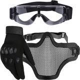 Kit Luva Tática Dedo Completo + Máscara Telada + Óculos X800 Paintball - Preto - Renascença