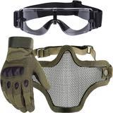 Kit Luva Tática Dedo Completo + Máscara Telada + Óculos X800 Paintball - Verde - Renascença