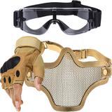 Kit Luva Tática Meio Dedo + Óculos X800 + Máscara Telada - Bege - Renascença