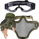 Kit Luva Tática Meio Dedo + Óculos X800 + Máscara Telada - Verde - Renascença