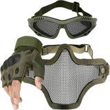Kit Luva Tática Microfibra Meio Dedo + Máscara de Tela + Óculos Telado - Verde - Renascença