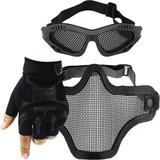 Kit Luva Tática Slim Meio Dedo + Óculos Telado + Máscara de Tela - Preto - Renascença