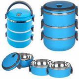 Kit marmita fitness dupla de inox marmiteira termica hermetica com 3 compartimentos potes emborracha - Gimp