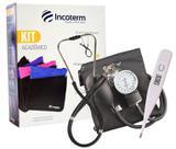 Kit medico para Academia - Termômetro, Estetoscópio e Esfigmomanômetro Aneróide - Incoterm