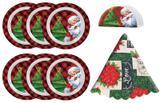 Kit Mesa Posta de Natal 8 Peças Melamina Prato Sobremesa, Porta Guardanapo e Toalha de Mesa T - Magizi