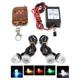 Kit Milha Strobo Controle S/Fio 4 Leds Coloridos DRL Vermelha - Importado