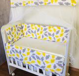 Kit Mini Berço Joy Nuvem Amarelo 07 Peças - Bebê enxovais