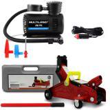 Kit Mini Compressor de Ar Compacto Portátil 12V e Mini Macaco Tipo Jacaré 2 Toneladas vermelho - Prime