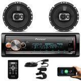"Kit MP3 Player Pioneer MVH-X300BR 1 Din BT Android iOS Mixtrax + Alto Falante Pioneer 6"" 120W RMS - Prime"