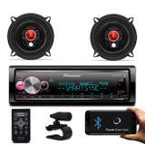 "Kit MP3 Player Pioneer MVHX700BR Bluetooth Android iOS Spotify + Alto Falante Bomber 5"" 100W RMS - Prime"