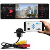 Kit MP5 Player Automotivo Shutt Los Angeles 4 Pol Bluetooth USB MP3 MP4 + Câmera Ré Colorida Preta