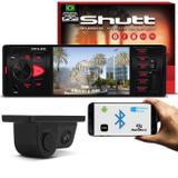 Kit MP5 Player Shutt Los Angeles 1 Din 4 Pol Bluetooth USB MP3 MP4 + Câmera Ré 2 em 1 Suporte Placa