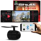 Kit MP5 Player Shutt Los Angeles 1 Din 4 Pol Bluetooth USB MP3 MP4 + Câmera Ré Colorida 2 em 1 Preta