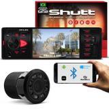 Kit MP5 Player Shutt Los Angeles 1 Din 4 Pol Bluetooth USB MP3 MP4 FM + Câmera de Ré Preto 8 Leds